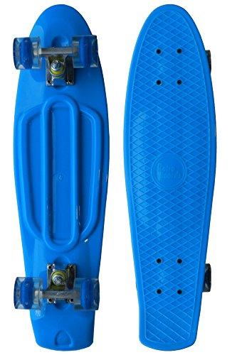RETRO BOARDS LED Wheels Skateboard, Blue, 22-Inch