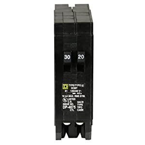 Square D by Schneider Electric HOMT3020CP Homeline 1-30-Amp 1-20-Amp Single-Pole Tandem Circuit Breaker