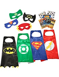 4 different Superhero Cape and Mask Costumes Come with 295+ Stickers Take Party Pack Gifts for Kids