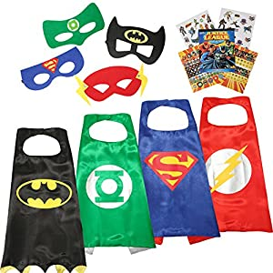 Justice League 4 Different Superhero Cape and Mask Costumes Come with 295+ Stickers Take Party Pack Gifts for Kids (Boys-Cape)
