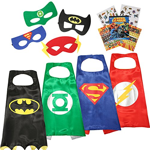Justice League 4 Different Superhero Cape and Mask Costumes Come with 295+ Stickers Take Party Pack Gifts for Kids -