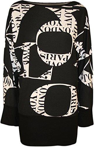 Fashion 4 Less, colore: nero, taglia unica Plus da donna con stampa, maniche a pipistrello da donna per Top, tuniche, 14-28, 20 pezzi, motivo: alfabeto