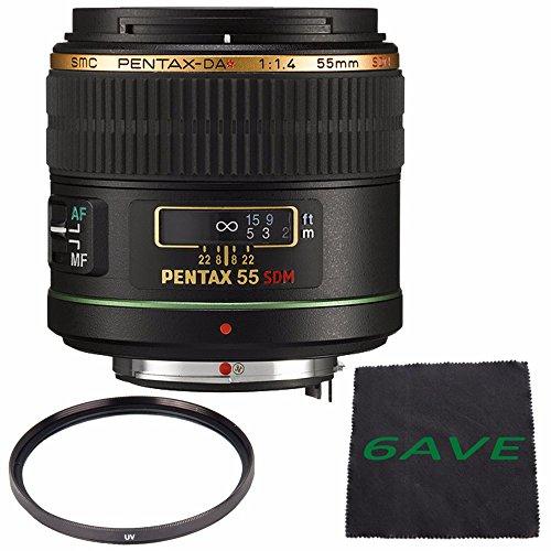 Pentax Telephoto 55mm f/1.4 DA SDM Autofocus Lens + UV Filter + Microfiber Cloth...