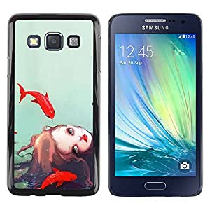 Paccase / SLIM PC / Aliminium Casa Carcasa Funda Case Cover para - Girl Watercolor Sea Deep Sad Meaning - Samsung Galaxy A3 SM-A300