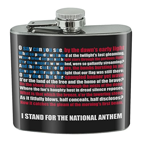 I Stand USA National Anthem Star-Spangled Banner American Flag Patriotic Stainless Steel 5oz Hip Drink Kidney Flask