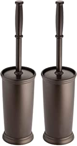 mDesign Compact Freestanding Plastic Toilet Bowl Brush and Holder for Bathroom Storage and Organization - Space Saving, Sturdy, Deep Cleaning, Covered Brush, 2 Pack - Bronze