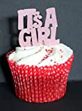 Its a girl! Pink edible cake topper x 12 (44mm x 44mm)