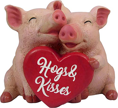 DWK - Hog Happiness - Collectible Hand-Painted Adorable Pig Couple Indoor Outdoor Figurine with Hogs & Kisses Heart Sign Romantic Gift Home Decor Office Garden Accent Valentine
