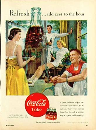 Amazon com: Refresh - add zest to the hour Coca-Cola ad 1950