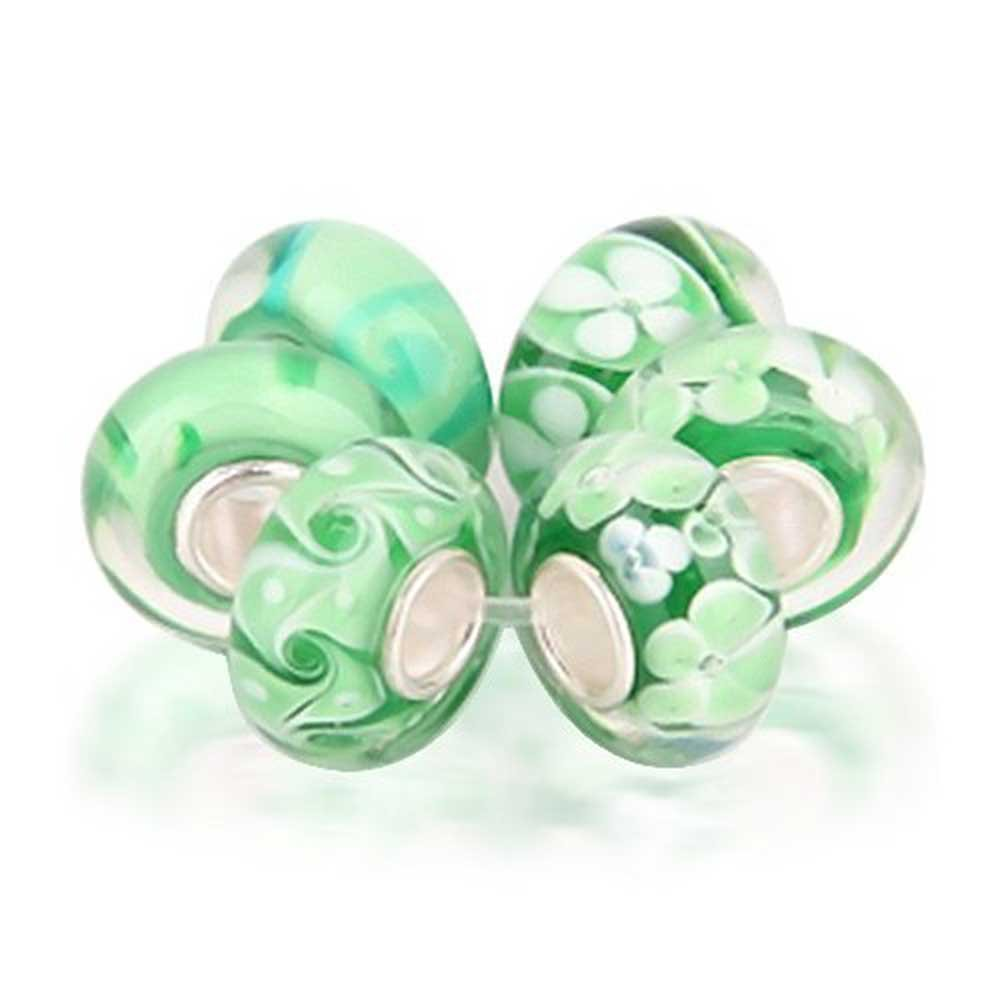 Set of Six Bundle Green Simulated Murano glass Lampwork Bead Charm .925 Sterling Silver