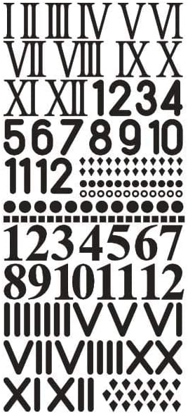 Rayher 30093576 - Números de Reloj Adhesivos (10x23cm), Color Negro