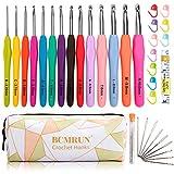 BCMRUN Crochet Hooks Set,14 PCS 2mm(B)-10mm(N) Ergonomic Soft Grip Handles Yarn Knitting Needles Kit with Case for Arthritic Hands, Extra Long Knit Needles, Best Gift for Women