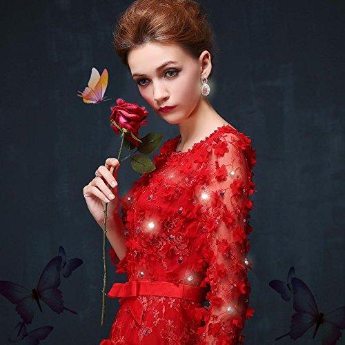 in lungo a abito pizzo Abito perlato Beauty Emily lunghe semi trasparente sera con da A maniche Line Red fiori Ww0Y8