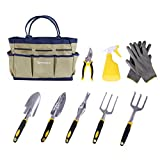 SONGMICS 9 Piece Garden Tool Set Includes Garden Tote and 6 Hand Tools Heavy Duty Cast-aluminum Heads Ergonomic Handles UGGB31L