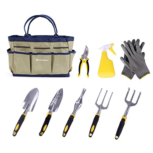 SONGMICS 9 Piece Garden Tool Set Includes Garden Tote and 6 Hand Tools Heavy Duty Cast-aluminum Heads Ergonomic Handles (Patio Hand Cast)