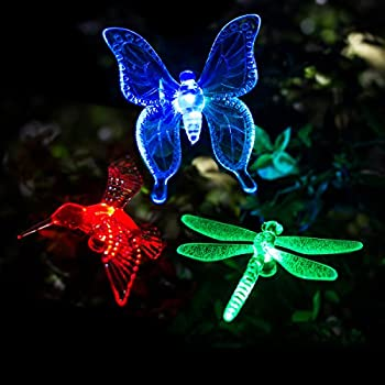 GIGALUMI Solar Garden Lights Outdoor   3 Pack Solar Stake Lights  Multi Color Changing LED