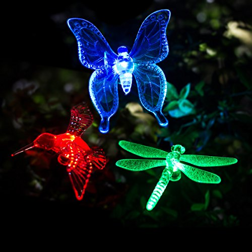 - GIGALUMI Solar Garden Lights Outdoor - 3 Pack Solar Stake Lights Multi-Color Changing LED Garden Lights, Premium Butterfly Decorative Lights for Path, Yard, Lawn, Patio.
