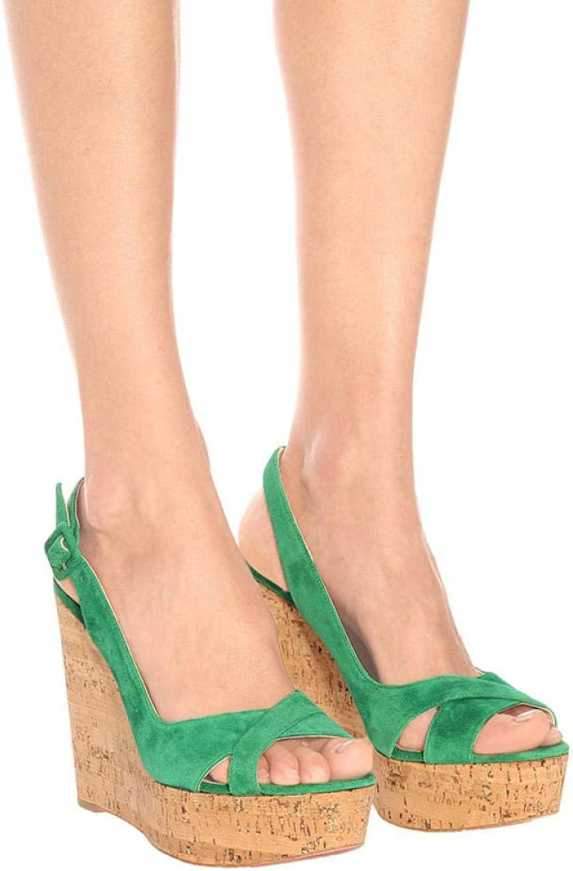Tingxx Fashion Plus Size Open Toe Buckle Overshoes Cork Wedge Party Sandals White_40 Green