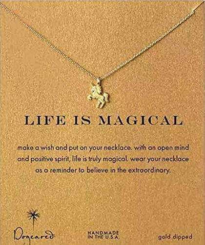 Dogeared Women's Life is Magial Unicorn Reminder Necklace Gold One Size