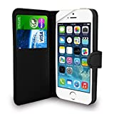 iPhone SE 5 5S Case Black Premium Leather Flip Wallet Case Cover Pouch For iPhone SE 5 / 5S and Screen Protector With Polishing Cloth And Stylus