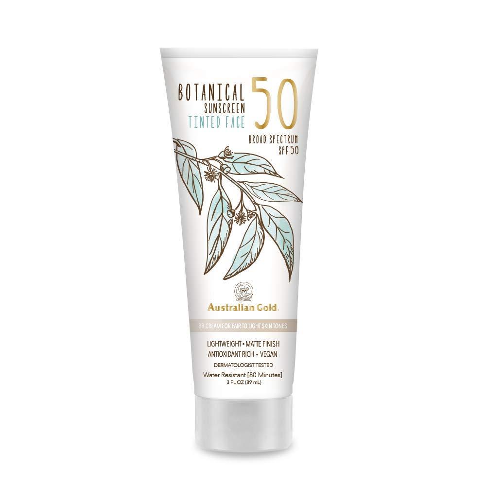 NEW Australian Gold Botanical Sunscreen Tinted Face BB Cream SPF 50, 3 Ounce | Fair-Light | Broad Spectrum | Water Resistant | Vegan | Antioxidant Rich | Same formula as Original Botanical SPF 50 Tinted Face Lotion: B01M8G39OW