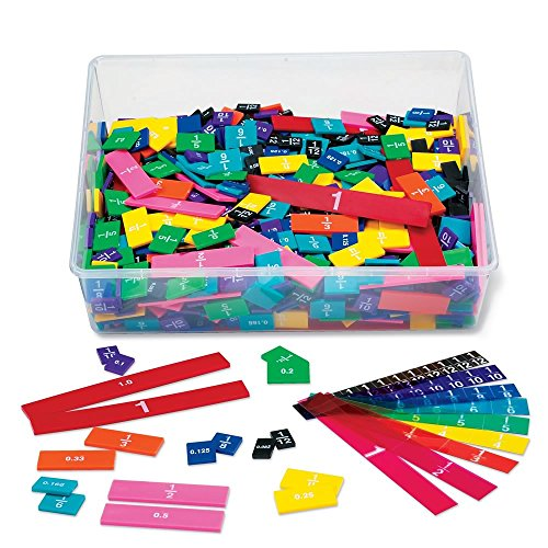 hand2mind Plastic Rainbow Fraction Tiles, Bulk Math Manipulative Kit for the Classroom (15 Sets of 51 Tiles)