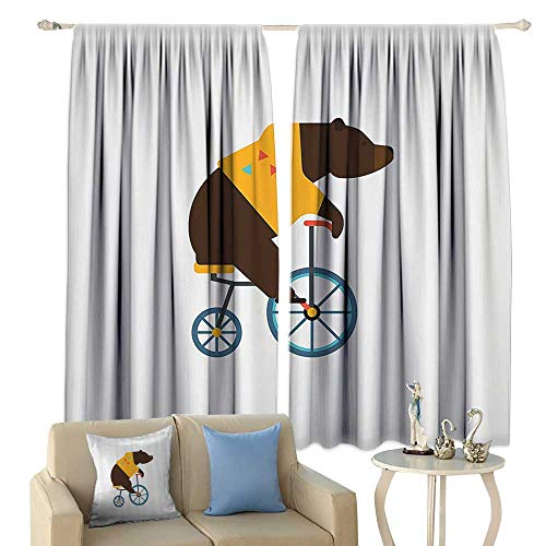 (cobeDecor Bicycle Thermal Insulated Drapes for Kitchen/Bedroom Big Teddy Bear Icon of Circus Riding Bicycle with Hipster Costume Animal Image Noise)