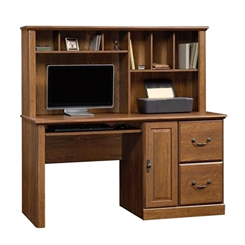 - Bowery Hill Computer Desk with Hutch in Milled Cherry
