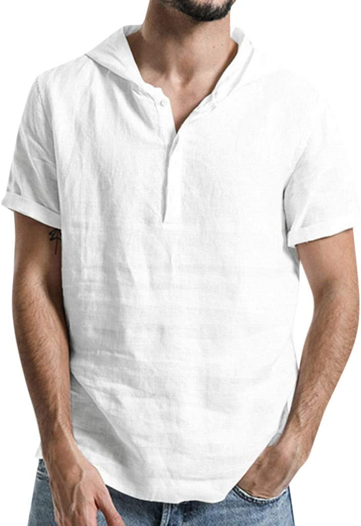 Nuewofally Mens Loose Solid Short Sleeve Shirts Cotton Linen Henley Hooded Sweatshirt Button Up Banded Collar Blouse (White,2XL)