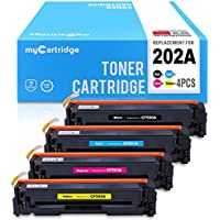 MYCARTRIDGE Compatible Replacement for HP 202A CF500A CF501A CF502A CF503A Toner Cartridge (Black, Cyan, Magenta, Yellow, 4-Pack) for use in Color LaserJet M254dw M281dw Series Printers