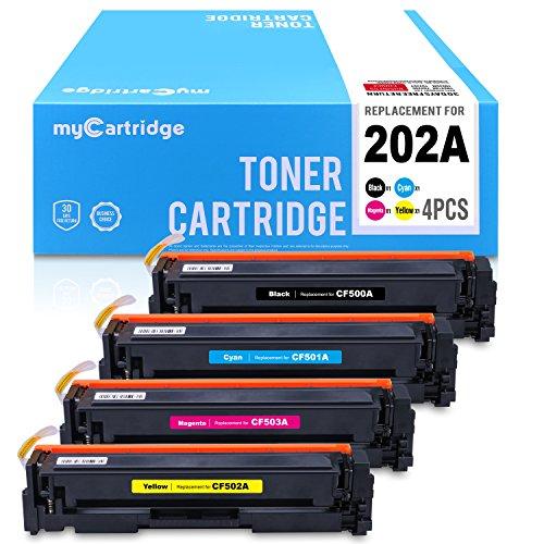 myCartridge Compatible Toner Cartridge Replacement for HP 202A CF500A CF501A CF502A CF503A (1BK 1C 1Y 1M, 4PK) Fit for HP Color Laserjet Pro MFP M281fdw M281cdw M281dw M280 M254 ()