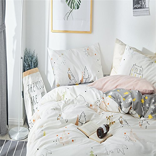VClife Kid Twin Bedding Sets 100% Cotton Duvet Cover Sets White Gray Stars Pine Tree Bear Vintage Bear Print Twin Boy Girl Comforter Quilt Cover Sets Zipper Closure Corner Ties Breathable Soft Durable