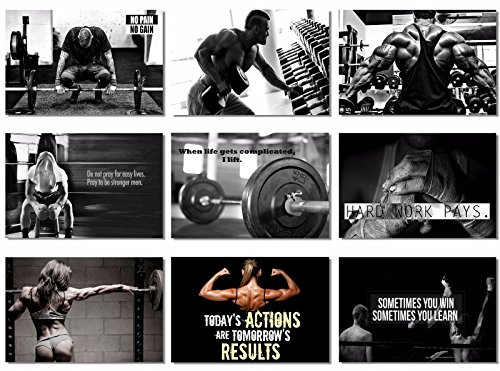 9x Poster Fabric Bodybuilding Men Girl Fitness Workout Quotes Motivational Inspiration Muscle...