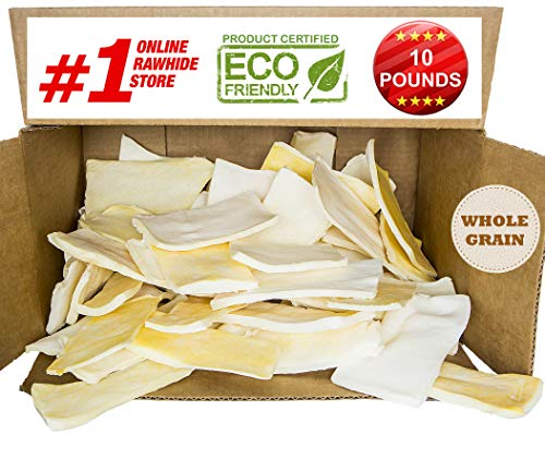 Giant Rawhide (Premium Thick Cut Chips, Wholegrain Rawhide (Last Much Longer Than Traditional Chips). 100% Natural. The Best Behavioral Dog Chewing Treat Solution. No preservatives. (10 POUNDS))