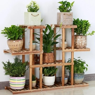 Plant Flower Stand Rack Shelf Bamboo Wooden Plant Flower Display Stand Wood Shelf Storage Rack Planter Organizer Display Shelving Unit,Completely Assembled (502With wheels) by Wendy JINGQI