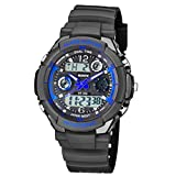 Mens Multi-Function Military Style Watch - 50M Water Resistant – Boy's Quartz Sports Watch with Analog & Digital Display with LED Backlight – Alarm Chrono - Ideal for Adventurous, Sporty & Active Men