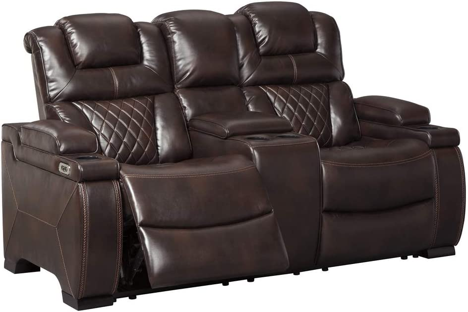 Signature Design By Ashley Warnerton Casual Faux Leather Power Reclining Loveseat Console Adjustable Headrest Brown Furniture Decor