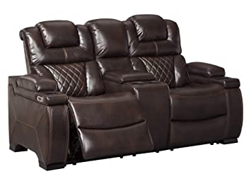 Superb Signature Design By Ashley Warnerton Power Reclining Loveseat With Console Chocolate Squirreltailoven Fun Painted Chair Ideas Images Squirreltailovenorg