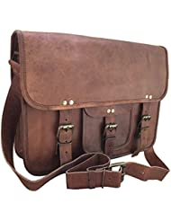 RK 15 Inches Classic Adult Unisex Cross Shoulder Genuine Leather Messenger Laptop Briefcase Bag Satchel Brown