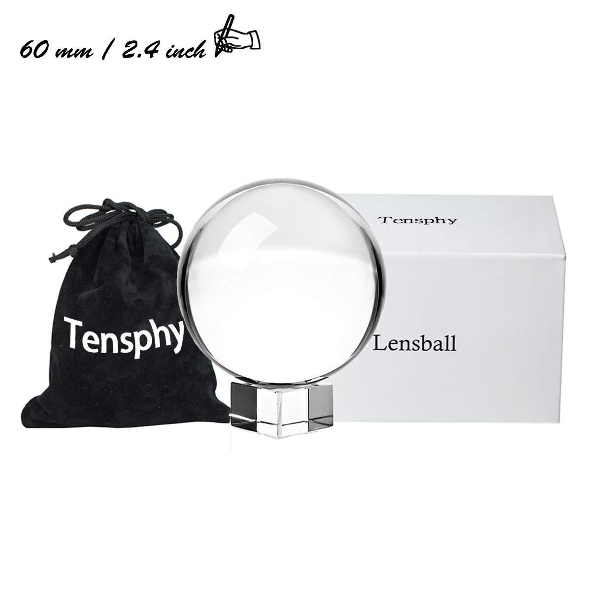 Tensphy K9 Bola de Cristal con Soporte 80 mm / 3.15 Pulgadas Claro Decoración de Arte K9 Cristal Apuntalar para Fotografía Decoración (2.4
