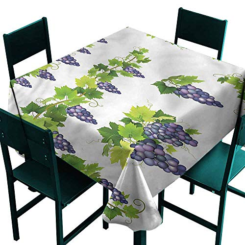 DONEECKL Restaurant Tablecloth Vine Green Leaf Cluster of Berries Table Decoration W54 xL54