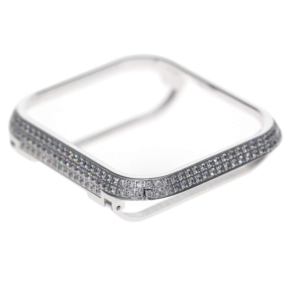 CLEAVE WAVES Compatible Iwatch Case 40Mm/44Mm Shiny Bling Diamond Rhinestone Aluminum Metal Watch Bumper Cover Crystal Protective Protector Cover for Iwatch Series 4,Silver,40Mm