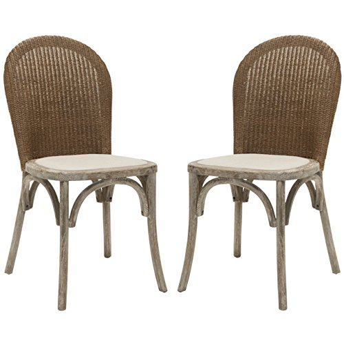 Safavieh Mercer Collection Sharon Finish Taupe Side Chairs, Antique Oak, Set of 2 by Safavieh (Image #1)