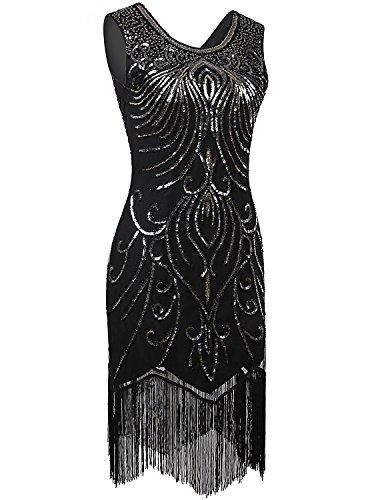 1920s Themed Dresses (Vijiv 1920s Vintage Sequin Art Nouveau Deco Fringe Night Out & Cocktail Dress, Medium, Black)