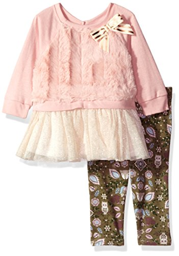 Sparkle Knit Dress (Youngland Baby Girls' Faux Fur Sparkle Tutu Dress With Knit Legging, Pink/Multi, 18M)