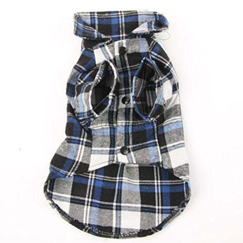 Comemall Blue,red Pet Dog Cat Puppy Clothes Plaid Shirt Coat Sweatshirt Costume S,m,l,xl 51mj2Y9Mi0L