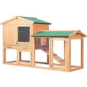 Rabbit Guinea Pig Hutch Wood Cage W/Trays Chicken Hen Ferret Coop Extension Run