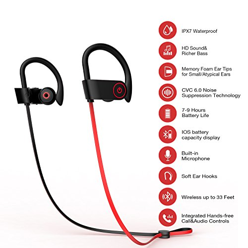 bddb3d795df Bluetooth Headphones Otium Best Wireless Sports Earphones w/ Mic IPX7  Waterproof HD Stereo Sweatpro. Color:Red