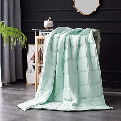Maple Down Summer Cooling Weighted Blanket, Heavy Blanket Cool Bed Blankets Natural Bamboo Viscose Luxury | 10lbs, 48×72'', Twin | Mircro Glass Beads | Mint Green