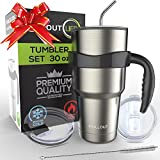 Stainless Steel Travel Mug 30oz – 6 Piece Set. Tumbler with Handle, Straw, Cleaning Brush & 2 Lids. Double Wall Insulated Large Coffee Mug Bundle By CHILLOUT LIFE